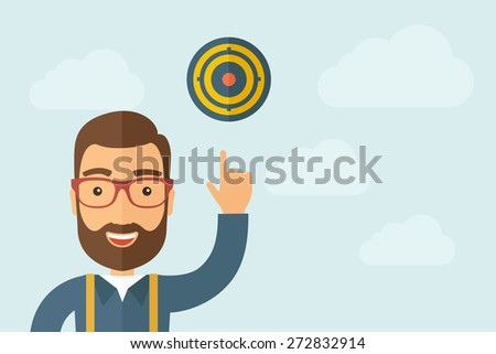 A Man pointing the target pad icon. A contemporary style with pastel palette, light blue cloudy sky background. Vector flat design illustration. Horizontal layout with text space on right part. - stock vector