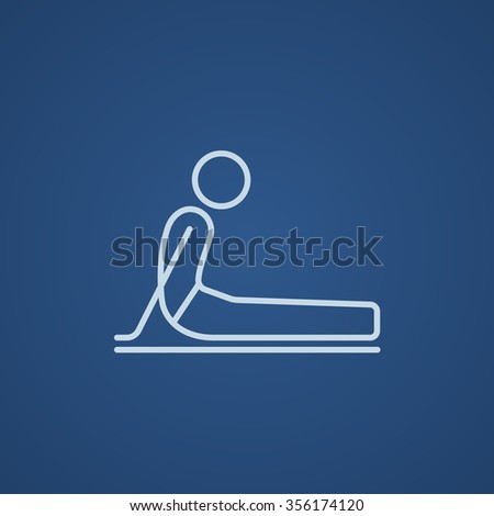 A man practicing yoga upward dog pose line icon for web, mobile and infographics. Vector light blue icon isolated on blue background. - stock vector