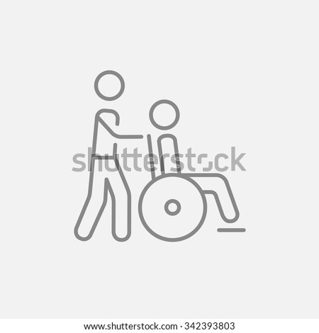 A man pushing a wheelchair with a patient line icon for web, mobile and infographics. Vector dark grey icon isolated on light grey background.