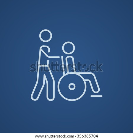 A man pushing a wheelchair with a patient line icon for web, mobile and infographics. Vector light blue icon isolated on blue background. - stock vector