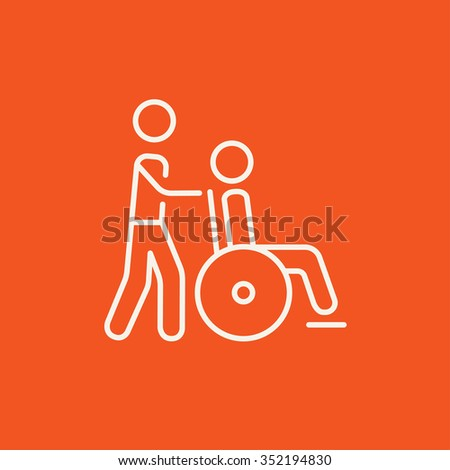 A man pushing a wheelchair with a patient line icon for web, mobile and infographics. Vector white icon isolated on red background. - stock vector