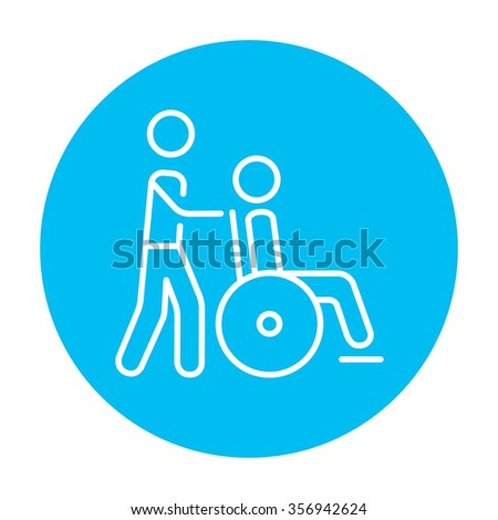 A man pushing a wheelchair with a patient line icon for web, mobile and infographics. Vector white icon on the light blue circle isolated on white background. - stock vector