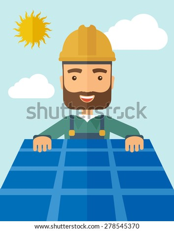 A man putting a solar panel on the roof as a alternative energy system. A Contemporary style with pastel palette, soft blue tinted background with desaturated cloud.  Vector flat design illustration - stock vector