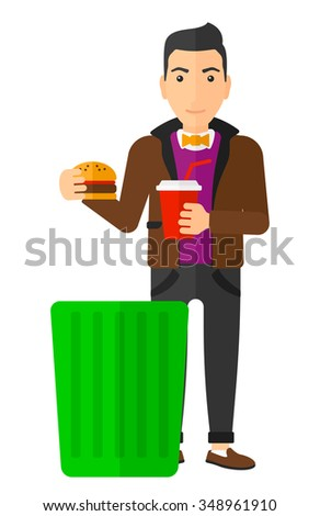 A man putting junk food into a trash bin vector flat design illustration isolated on white background. Vertical layout. - stock vector