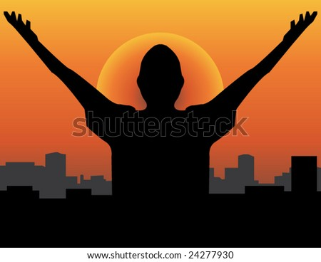 A man raising his hand towards the sun hoping for a brand new day concept!visit my gallery for more. - stock vector