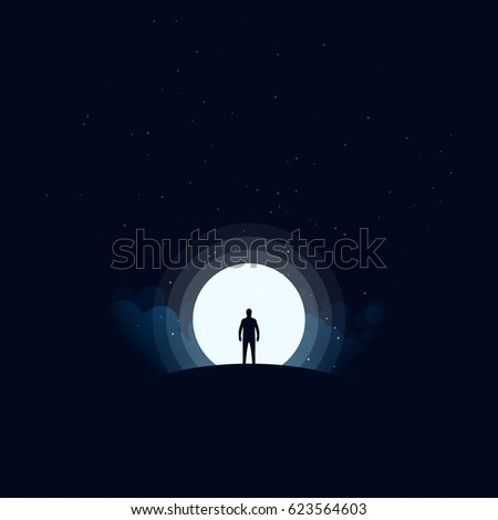 A man standing on top of the mountain at night background, vector illustration