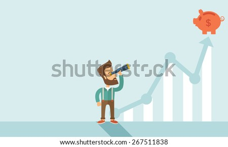 A man standing using telescope to see the graph and piggy bank is on the top of the arrow, it is a sign of progress a business sales is going up. Growing business concept. A contemporary style with - stock vector