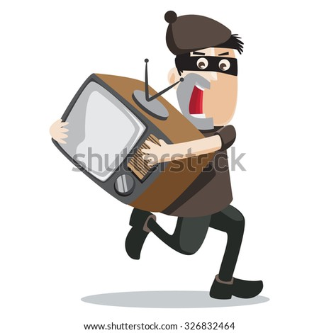 a man steal a TV - stock vector