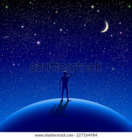 A man stood watching the starry sky. Eps10. RGB. Gradients used. Organized by layers. Used transparency and blend modes different from normal. - stock vector