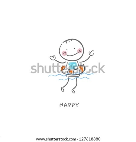 A man swims in the lifebuoys. Illustration. - stock vector