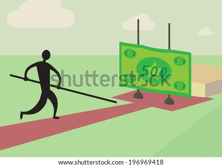 A man trying to pole vault over a financial high jump. A personal finance metaphor. - stock vector