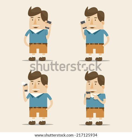 A man using smart phone - stock vector