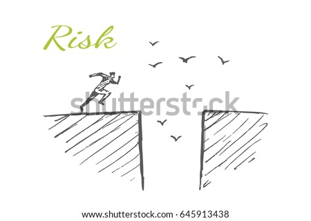 A man wants to jump over the abyss. Vector concept illustration. Hand drawn sketch. Lettering risk.