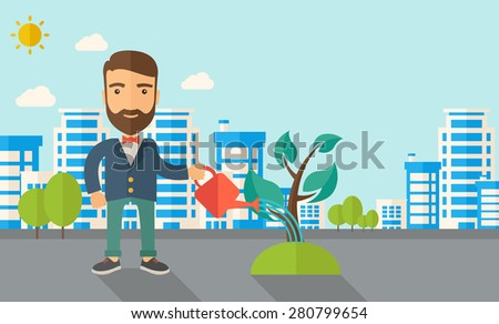 A man watering the growing plant as improving economy. A Contemporary style with pastel palette, soft blue tinted background with desaturated clouds. Vector flat design illustration. Horizontal layout - stock vector