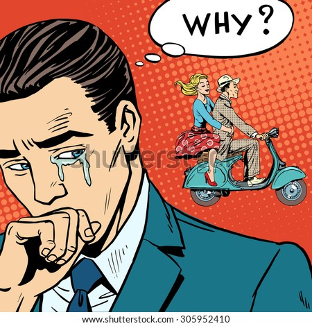 A man weeps love breakup cheating. The woman left with her lover on a scooter - stock vector