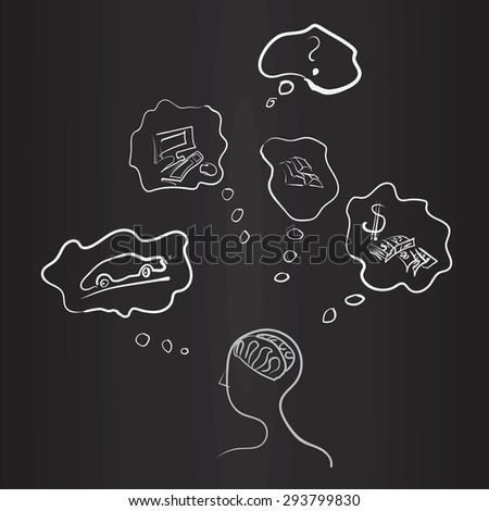 A man who dreams of wealth and success, vector illustration - stock vector