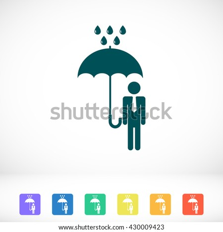 a man with an umbrella in the rain icon