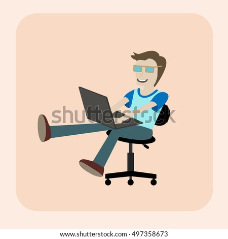 A man with laptop wearing glasses sitting at the office chair