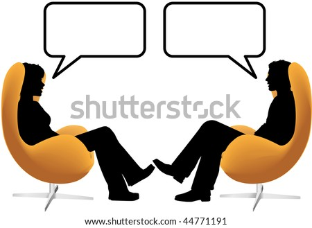 A man woman couple sit in egg chairs facing each other and talk - stock vector