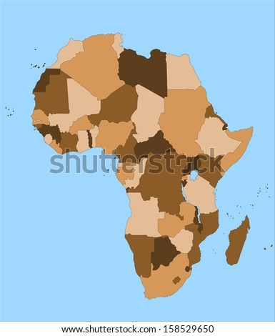 A map of Africa in different colors. - stock vector