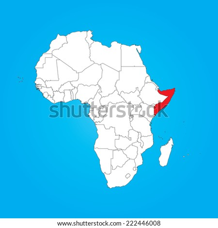 A Map of Africa with a selected country of Somalia - stock vector