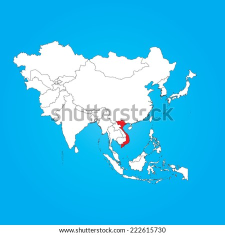 A Map of Asia with a selected country of Vietnam - stock vector