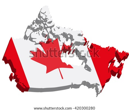 Flag Map Canada Stock Vector Shutterstock - Canada map with flag