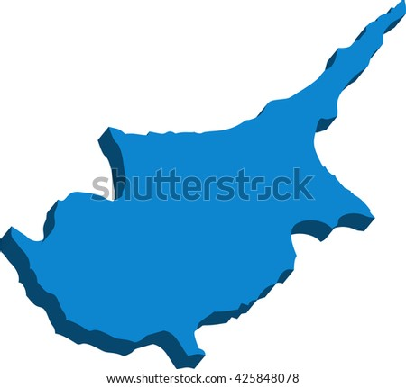 A map of Cyprus 3D on white background
