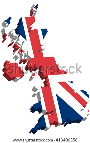 A map of Great Britain 3D on white background