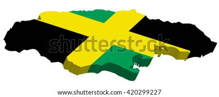 A map of Jamaica 3D with flag on white background