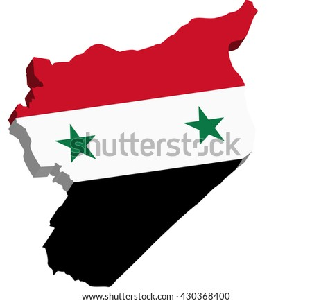 A map of Syria 3D on white background - stock vector