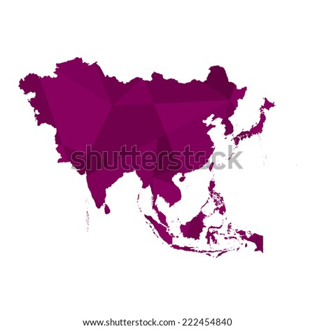 A Map of the continent of Asia - stock vector