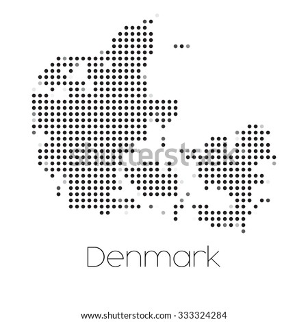 A Map of the country of Denmark - stock vector