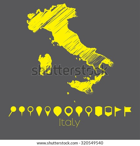 A Map of the country of Italy - stock vector