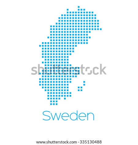 A Map of the country of Sweden - stock vector