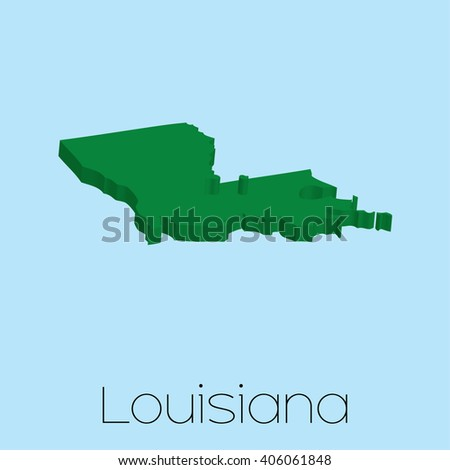 A Map of the the state Louisiana - stock vector