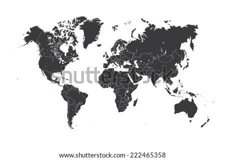 A Map of the world with a selected country of Armenia - stock vector