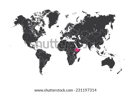 A Map of the world with a selected country of Ethiopia - stock vector