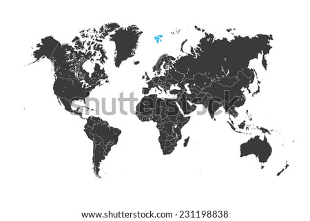 A Map of the world with a selected country of Svalbard - stock vector