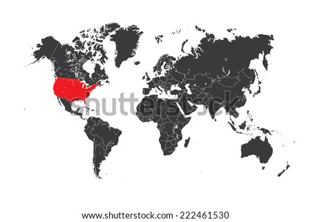 A Map of the world with a selected country of United States of America - stock vector