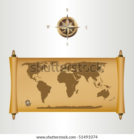 a map on papyrus and a compass ,vector illustration