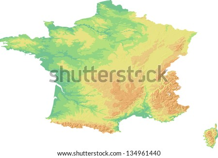 A map showing the land topography of France with shaded relief and hypsometric tints on different layers in fully editable eps10 vector file. Data source: NASA - stock vector