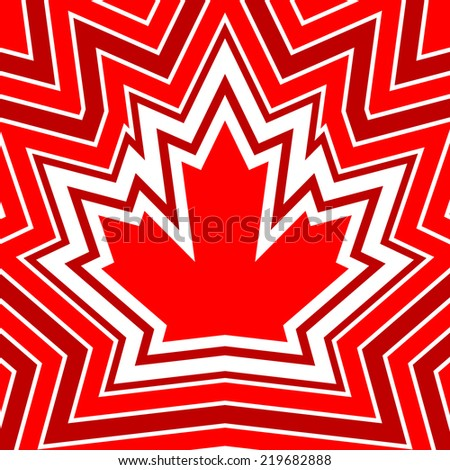 A maple leaf design made up of cascading outlines. - stock vector