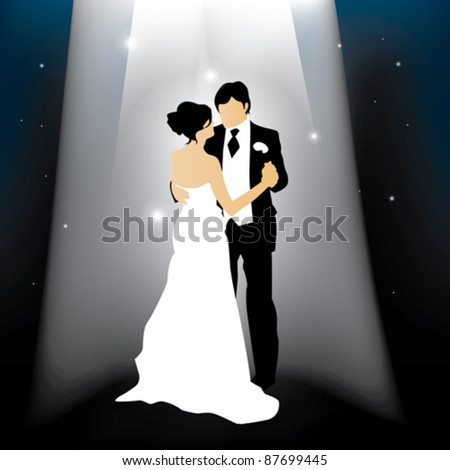 A married couple dancing in front of a starry background - stock vector