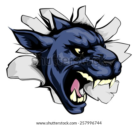 A mean looking panther animal mascot breaking through a wall - stock vector
