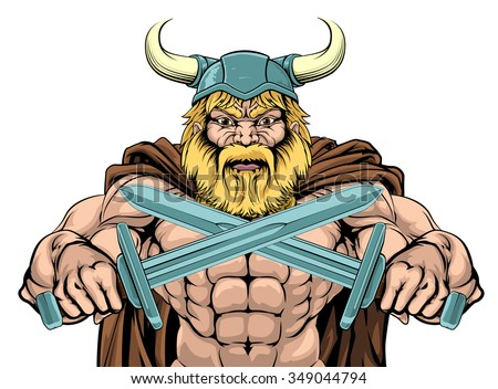 A mean looking Viking Warrior sports mascot holding two swords - stock vector