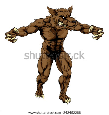 A mean looking werewolf wolf man, or wolf sports mascot character advancing with his claws out - stock vector