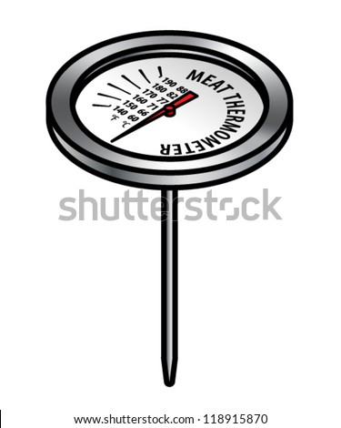 A meat thermometer with fahrenheit and centigrade/celsius scales. - stock vector