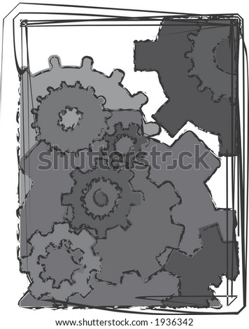 A mechanical background image of moving gears surrounded with wild grunge strokes.