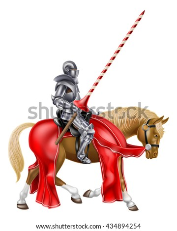 A medieval knight in full armour holding a red and white stripped lance ready for a jousting tournament